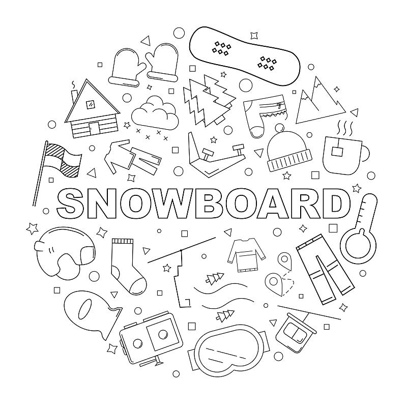 绘画插图,矢量,背景,雪板,式样,直的,线图标,雪,饮料,靴子