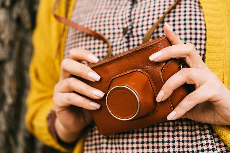 秋天,相机,橙色,芥末,女人,派克大街,酷,衣服,40-80年代风格复兴,摄影