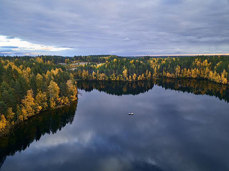 芬兰,秋天,湖,航拍视角,自然,自然美,芬兰国,黄金