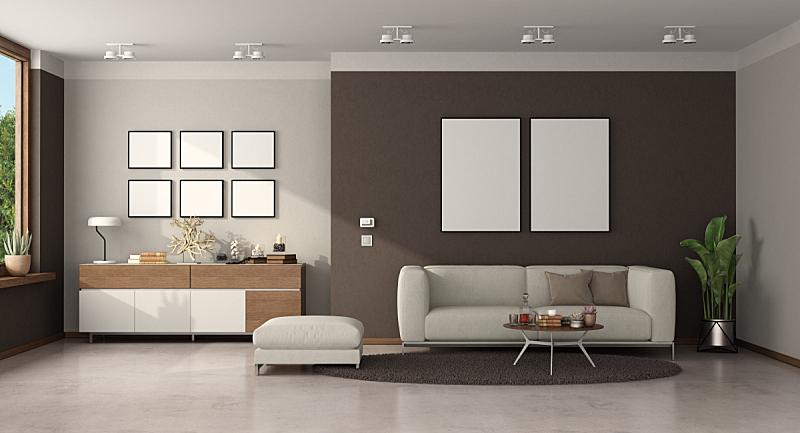 沙发,起居室,极简构图,餐具柜,脚凳,空的,茶几,纺织品,照明设备,花盆