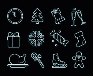 霓虹灯,计算机图标,水平画幅,形状,袜子,雪,无人,蝴蝶结,绘画插图