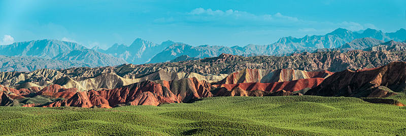 丹霞地貌,中国,彩虹,山脉,全景,张掖,地质公园,山脊,彩色背景,沙岩
