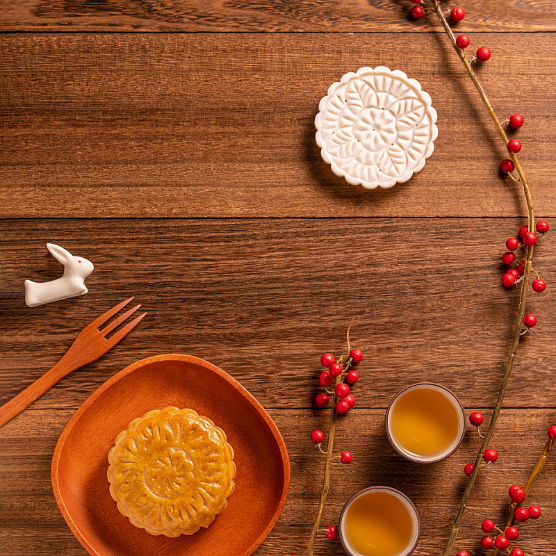 茶杯,木制,概念,传统,月饼,平铺,桌子,中秋节,式样,创造力