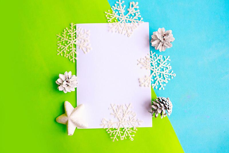 贺卡,新年前夕,平铺,白色,空白的,绿色,蓝色,明亮,视角