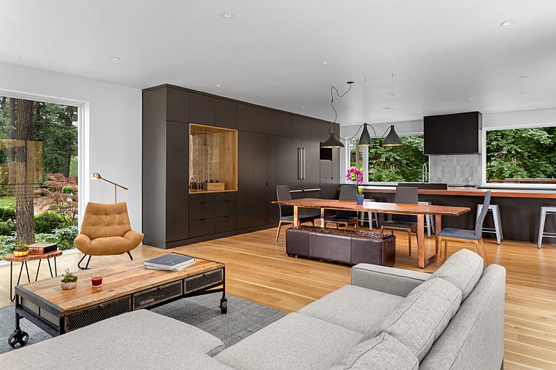 华贵,现代,住宅内部,硬木,厨房,新的,项坠,照明设备,室内地面,自然美