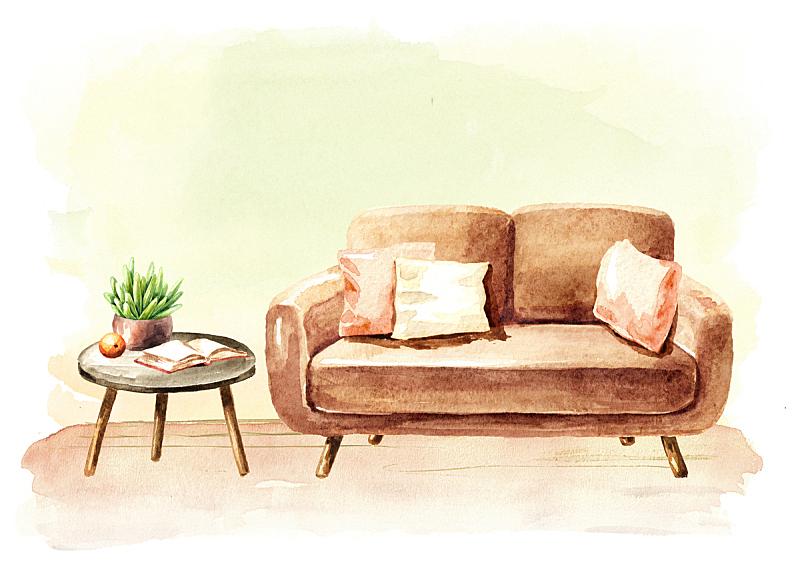 空的,沙发,绘画插图,留白,茶几,白色背景,水彩画,举起手,盆栽植物,绘制