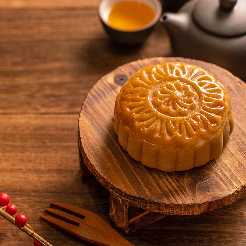木制,概念,背景,茶杯,月饼,中秋节,圆形,餐位,传统