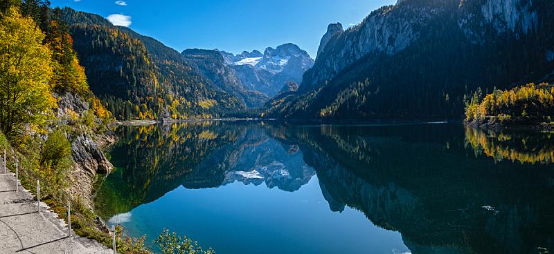 湖,达特施泰因山脉,秋天,阿尔卑斯山脉,宁静,水,冰河,山,逃避现实,反射