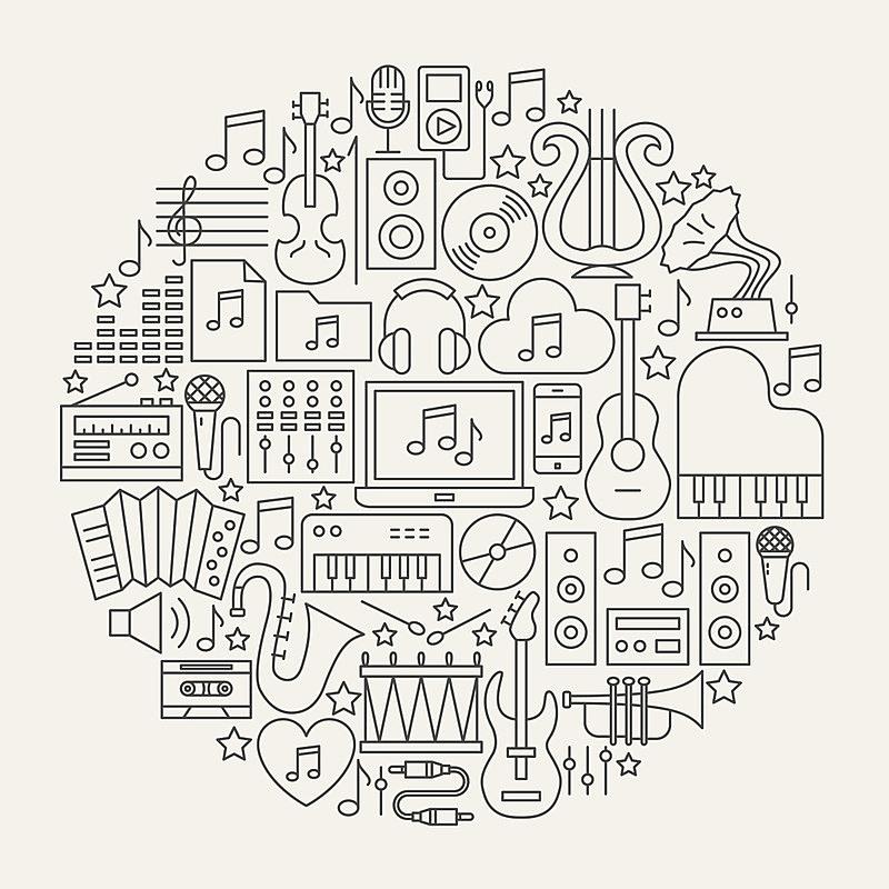 圆形,音乐,计算机图标,线条,麦克风,流行音乐会,艺术,爵士乐,绘画插图,聚会的音乐主持人