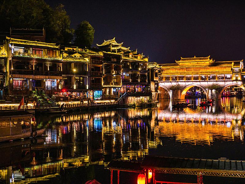湖南省,夜晚,远古的,建筑外部,风景,桥,都市风景