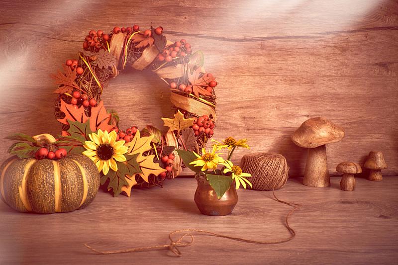 华丽的,木制,文字,秋天,南瓜,叶子,浆果,花环,缎带,排列
