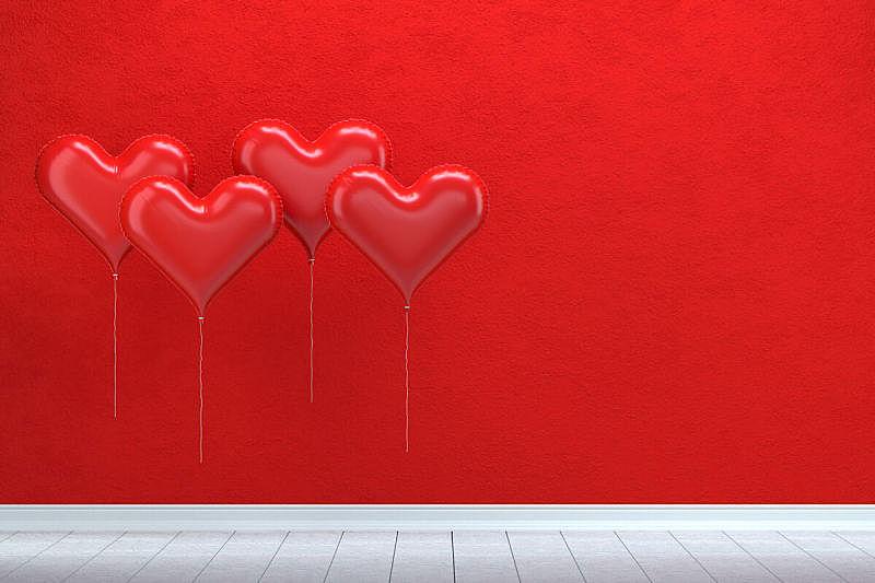 空的,情人节,闪亮的,气球,墙,心型,概念,周年纪念,贺卡,边框