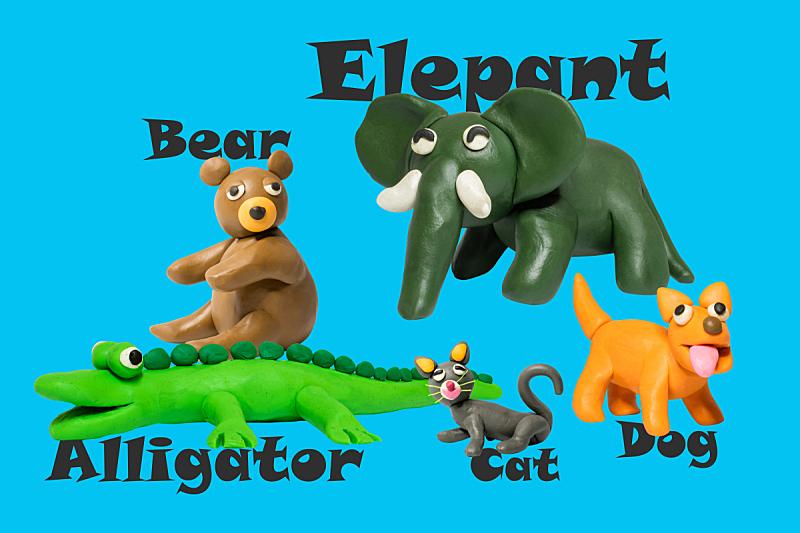 玩具,动物,儿童,童年,可爱的,儿童游戏陶土,雕像,友谊,背景分离,塑胶