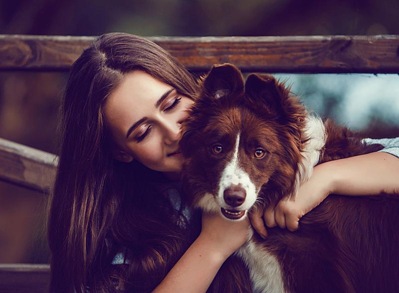 狗,青年女人,公园,柯利牧羊犬,一个人,草,女人,动物,仅一个青年女人,春天