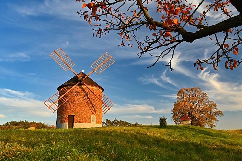 云,古典式,天空,自然,季节,秋天,捷克,多色的,风车,蓝色