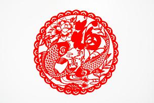 鲤鱼,运气,传统,春节,艺术,汉字,装饰,切断