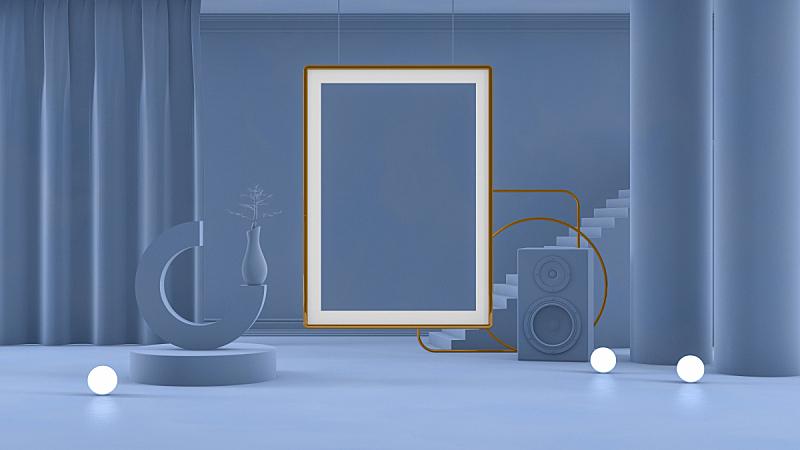 空的,边框,三维图形,建筑,住宅房间,蓝色,楼梯,柱子,球体,几何形状
