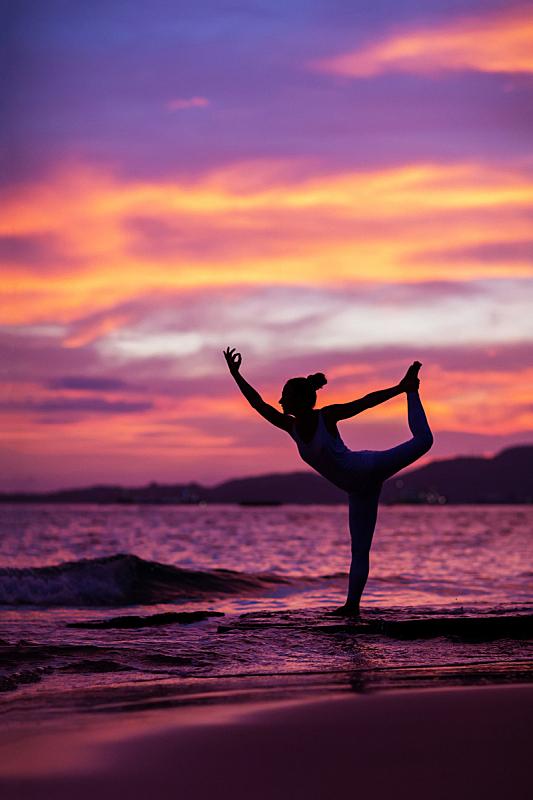 海滩,瑜伽,女人,练习