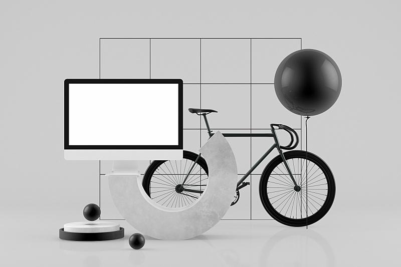 空的,几何形状,三维图形,极简构图,显示器,抽象,灰色背景,概念,球体,计算机