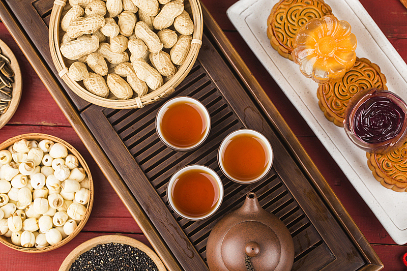 传统,茶杯,餐位,茶,中秋节,蛋糕,盘着腿坐,莲花坐式,食品,蛋黄
