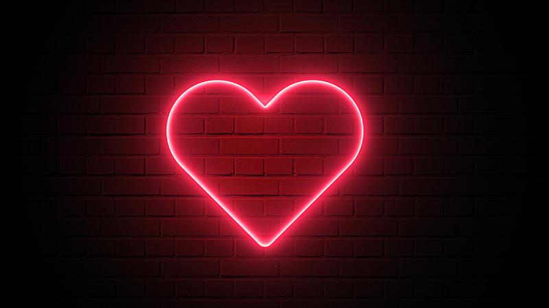 霓虹灯,心型,概念,抽象,红色,幸福,背景,情人节,墙