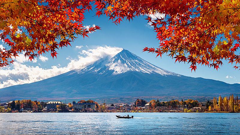 湖,富士山,日本,季节,山,秋天,箱根园,雪,著名景点,背景