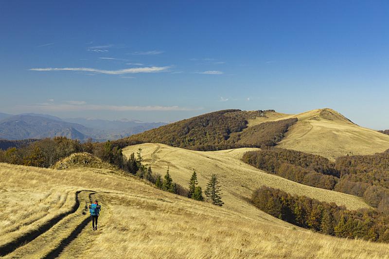 女孩,自然,秋天,风景,生活方式,地形,山,徒步旅行,多变的天空,摄影