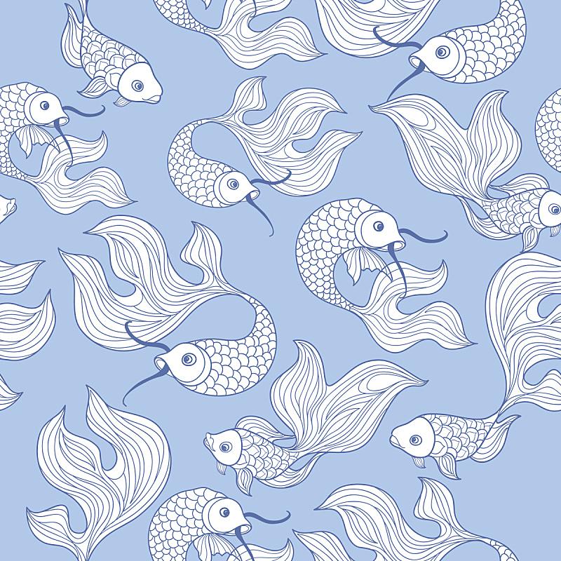 四方连续纹样,鱼类,乱画,华丽的,分界线,背景,动物手,海洋生命,绘画插图,水
