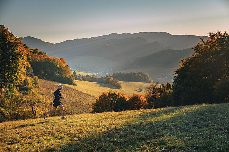 热,橙色,慢跑,自然,秋天,光,运动员,火车,黎明,自然美
