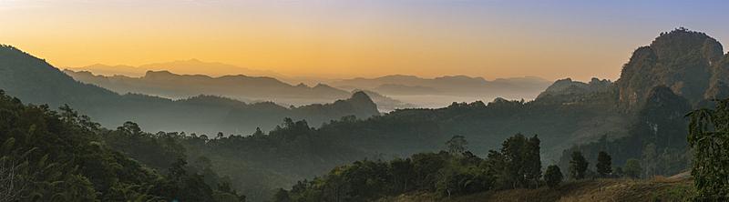 风景,全景,雾,森林,山,自然美,白色,环境,云,泰国