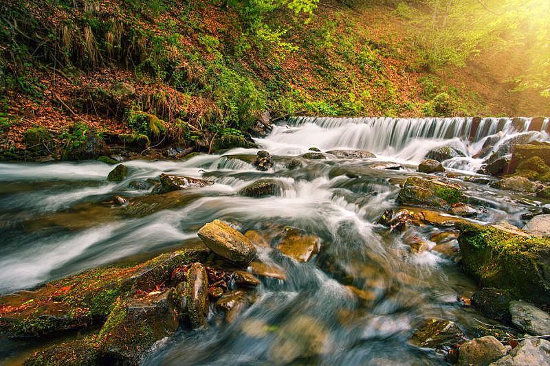 瀑布,森林,秋天,河流,山,太阳,明亮,在下面,流水