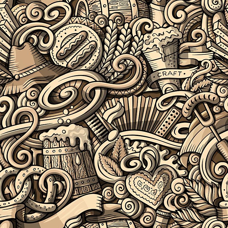 卡通,啤酒节,四方连续纹样,乱画,可爱的,绘画插图,含酒精饮料,饮料,单色调,复杂