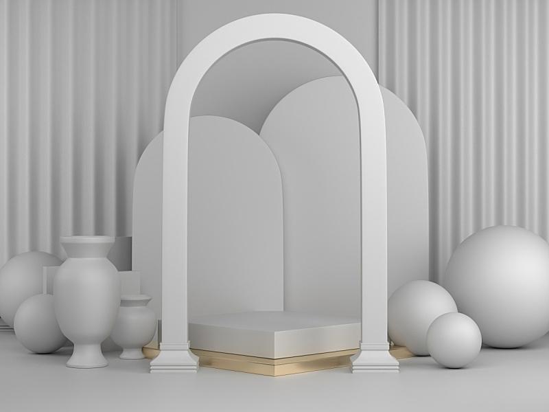 几何形状,图像,背景,商品,抽象,白色,指挥台,三维图形,概念