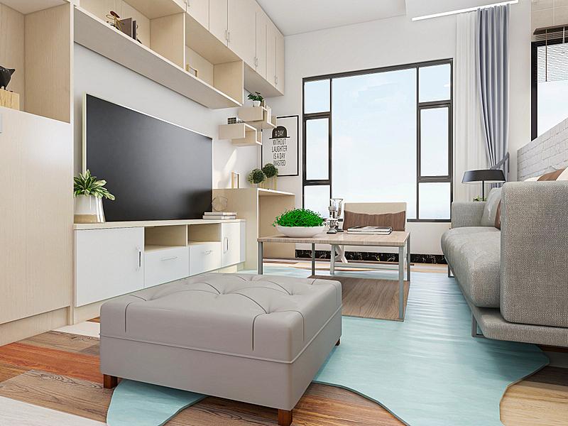 沙发,现代,起居室,电子收费系统,舒服,极简构图,桌子,电视机,设计