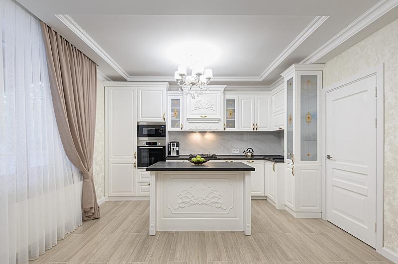 厨房,华贵,现代,白色,岛,窗帘,自然界的状态,摩尔多瓦共和国,地板