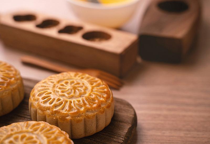 圆形,木制,清新,主菜餐盘,月饼,中秋节,背景,秋天,烘焙