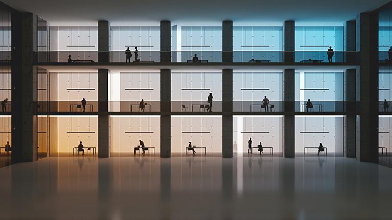 极简构图,办公大楼,书桌,办公室,格子间,大厅,商务,办公椅,暗色