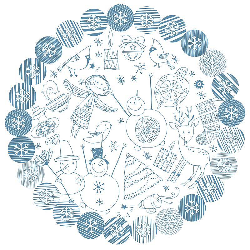 绘画插图,新年前夕,矢量,背景,白色背景,装饰物,桨叉架船,庆祝,聚集