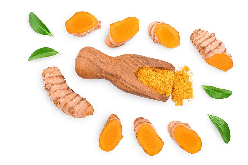 姜黄,根部,平铺,分离着色,研磨食品,白色背景