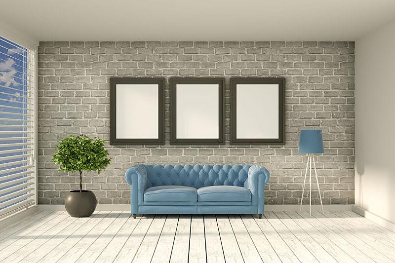 砖墙,边框,日光,起居室,空的,沙发,三维图形,室内,砖,舒服