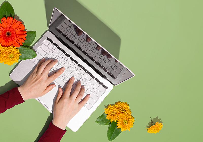 秋天,笔记本电脑,人,商务,十月,计算机,技术,橙色,手,平铺