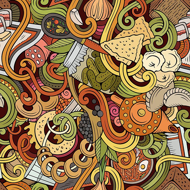卡通,四方连续纹样,食品,乱画,红鱼子酱,俄式茶壶,俄式煎饼,水果拼盘,罗宋汤,狂欢节