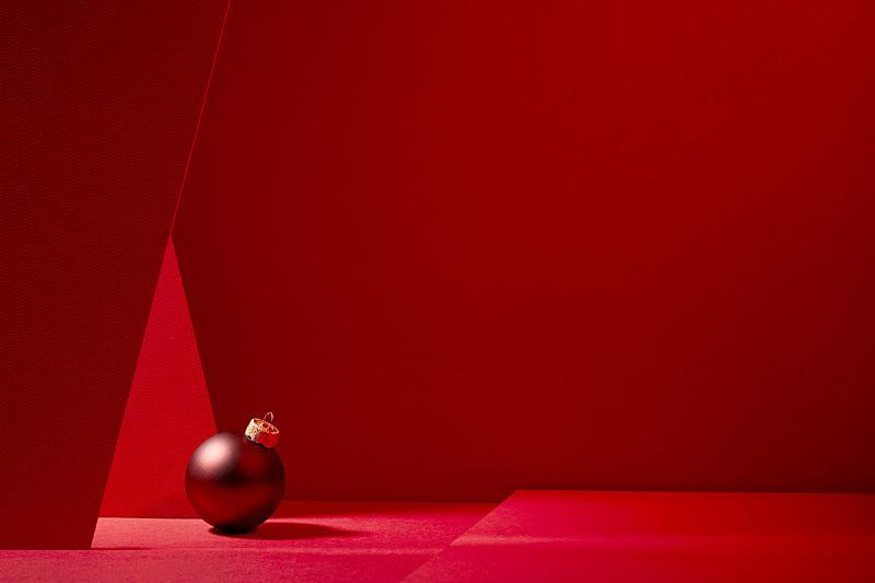 红色,红色背景,圣诞球,圣诞装饰物,概念,圣诞卡,图像,背景,水平画幅