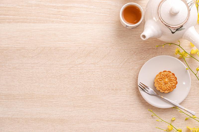 明亮,木制,黄色,下午茶,月饼,桌子,中秋节,概念,庆祝,花