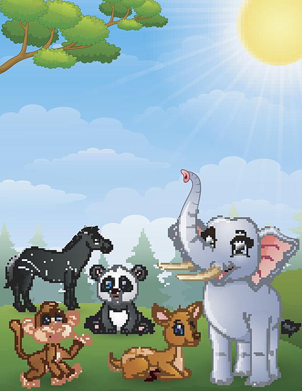 动画片,野外动物,熊猫,狩猎动物,斑马,热带气候,肖像,哺乳纲,草,色彩鲜艳
