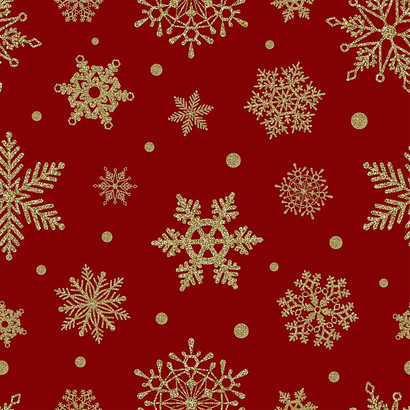 黄金,雪花,红色背景,式样,贺卡,新年前夕,雪,模板,四方连续纹样