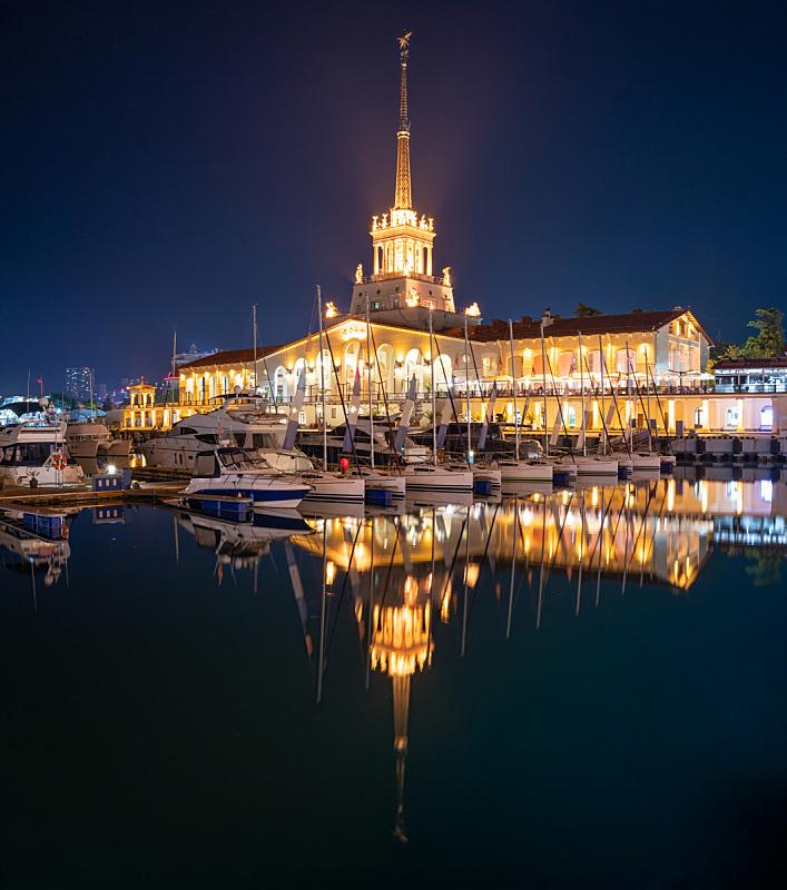 夜晚,海洋,索契,车站,船,帆,游艇,照明设备,海港,著名景点