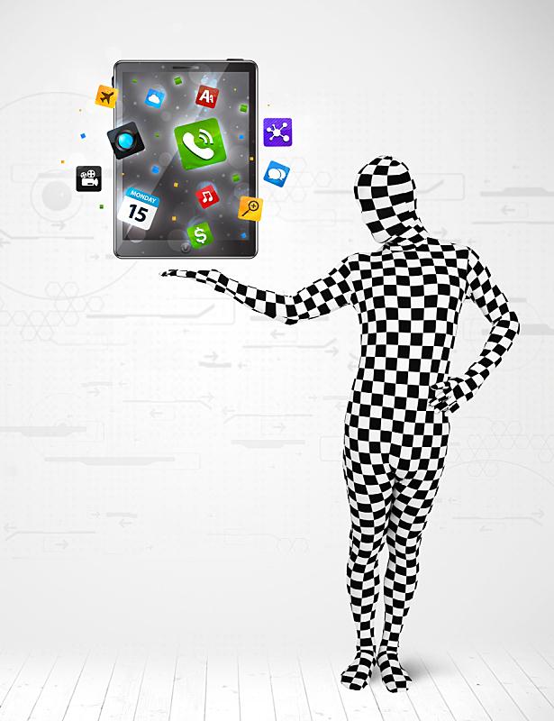 男人,平板电脑,充满的,紧身连衣裤,活力,概念象征,肖像,技术,紧身衣裤,拿着