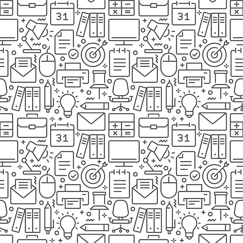 细的,四方连续纹样,办公室,符号,成一排,商务,电子邮件,经理,计算机,信函
