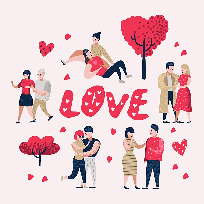 绘画插图,情人节,卡通,矢量,乱画,人,浪漫,概念,伴侣,爱